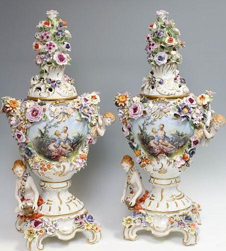 Meissen Style Urns