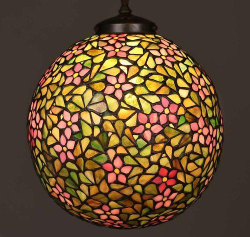 Handel Leaded Glass Spherical Ball Hanging Light c1910