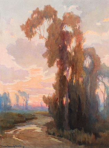 Marion Wachtel Eucalyptus Sunset California Watercolor c1910s