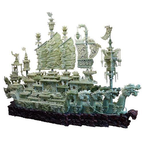 Monumental Chinese Jade Dragon Ship