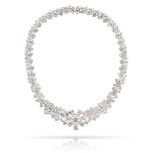 PLATINUM 75.00CTS DIAMOND COLLAR NECKLACE