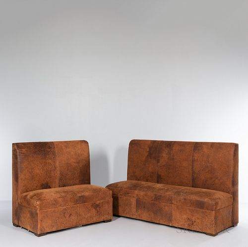 Two Restoration Hardware High-back Suede Benches