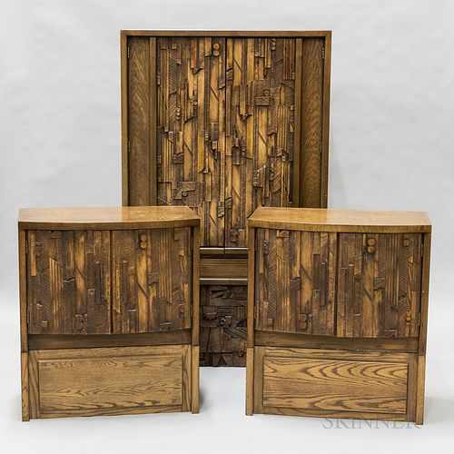 Four Pieces of Lane Brutalist Oak Furniture