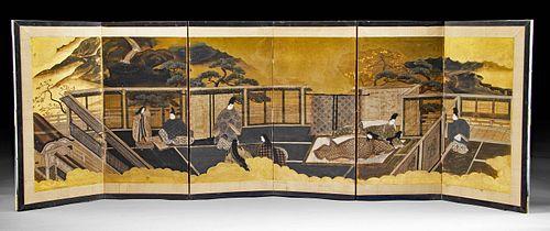 Japanese Meiji Period Folding Screen - Tale of Genji