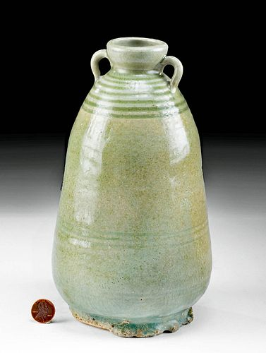 13th C. Thai Sukhothai Celadon Stoneware Bottle