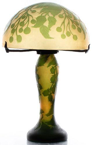 Emile Galle Art Nouveau Cameo Glass Table Lamp