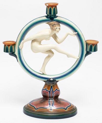 Goldscheider Ceramic Art Deco Figural Candelabra