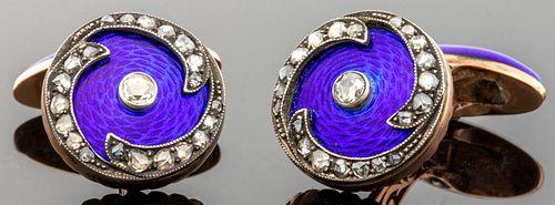 Russian 14K Rose Gold Diamond Enamel Cufflinks