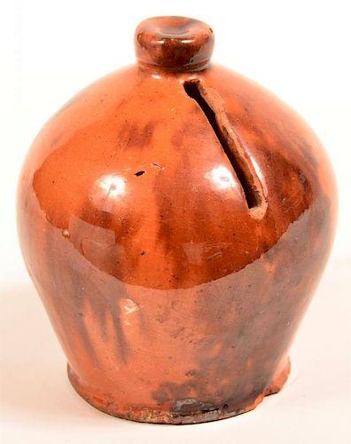 PA Redware Pottery Dome Form Still Bank.