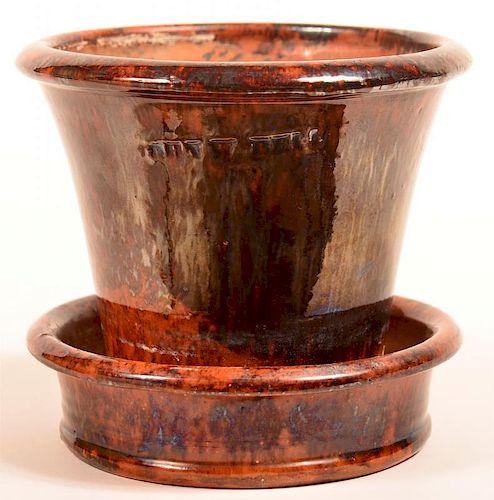 John Bell Redware Mottle Glazed Flower Pot.