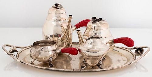 William DeMatteo Modern Silver Tea Service, 5 Pcs.