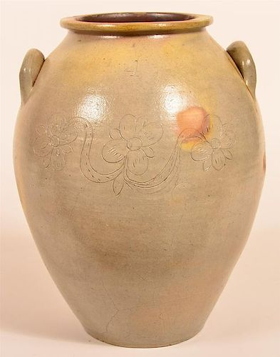 Unsigned Stoneware Pottery Four Gallon Crock.