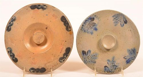 Two Cobalt Blue stoneware Cake Crock Lids.