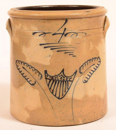 Unsigned Four Gallon Stoneware Pottery Crock.