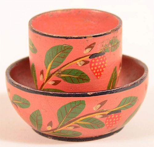 Lehnware Strawberry Pattern Cup and Saucer.