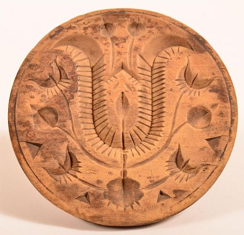 19th Century Carved Stylized Tulip Butter Print.