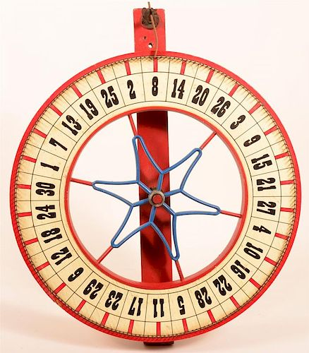 Early 20th Century Carnival Game Wheel.