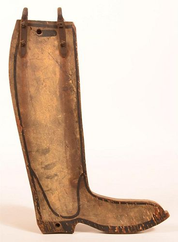 Boot Form Painted Wood Trade Sign.