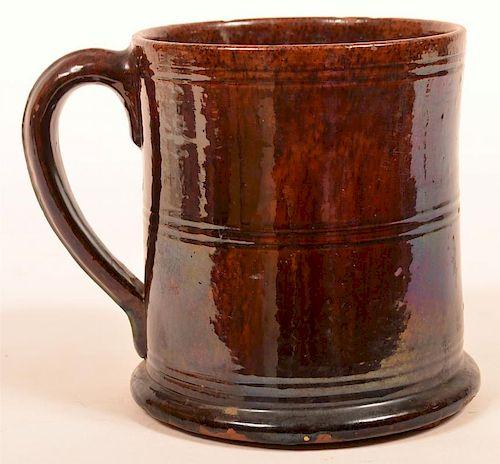 PA Mottle Glazed Redware Large Mug.