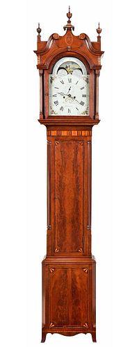 Important Virginia Federal Patriotic Tall Case Clock