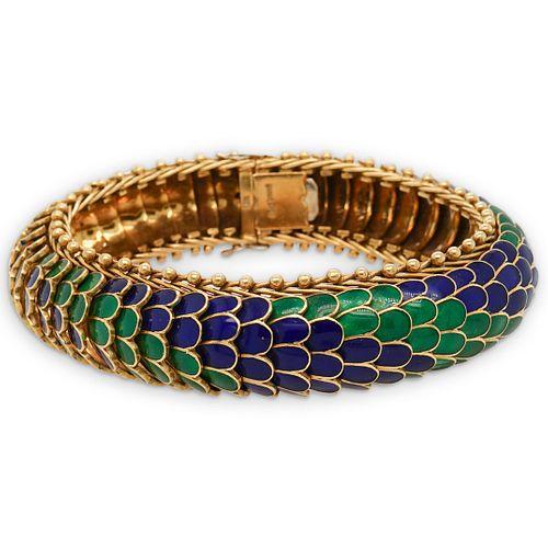 18K Retro Ladies Enamel Serpent Bracelet