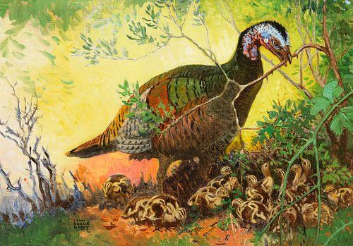 Lynn Bogue Hunt (1878–1960) — Wild Turkey and Chicks