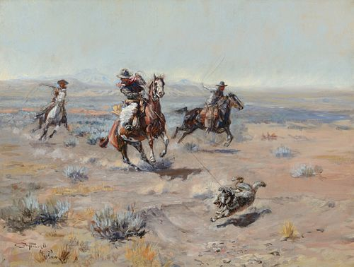 Charles M. Russell (1864–1926) — Roping a Wolf (1904)