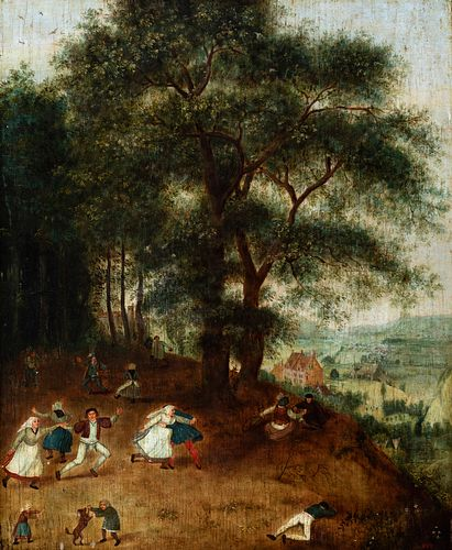 """Flemish school. Follower of PIETER BRUEGHEL, 16th century. """"Country party"""". Oil on panel."""