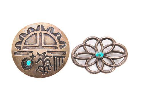 2 Native American Turqoise Pins