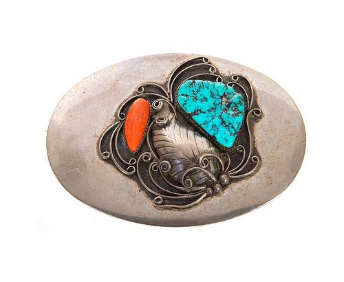 Vintage Native American Turquoise Belt Buckle
