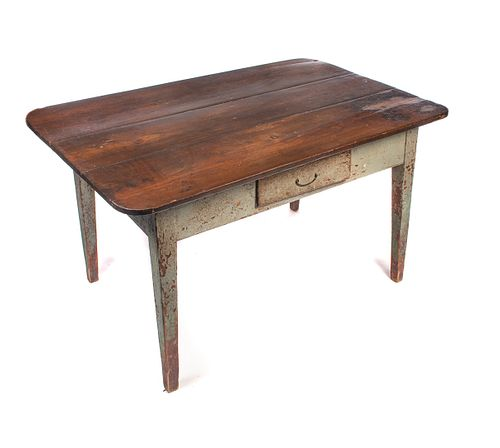 Early Painted Pegged Country Hepplewhite Farm Table