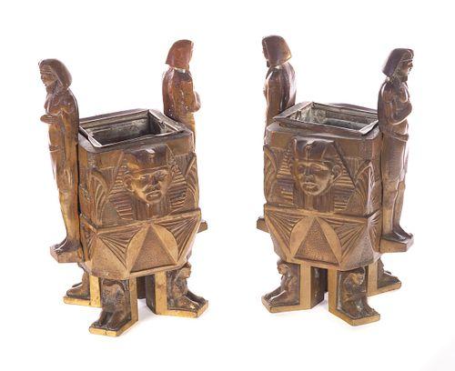 Bronze Egyptian Revival Jardinieres