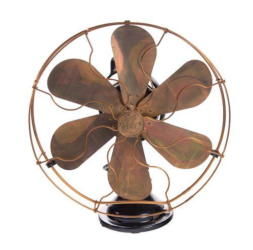 Antique GE Brass 6 Blade Fan