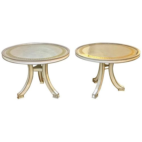 Pair of Eglomise Top Painted Side Tables