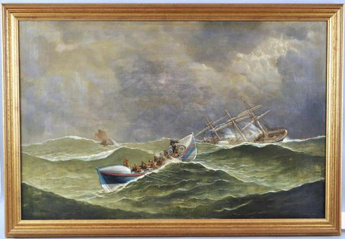 """F. Tudgay, Marine Painting """"To The Rescue"""" O/C"""