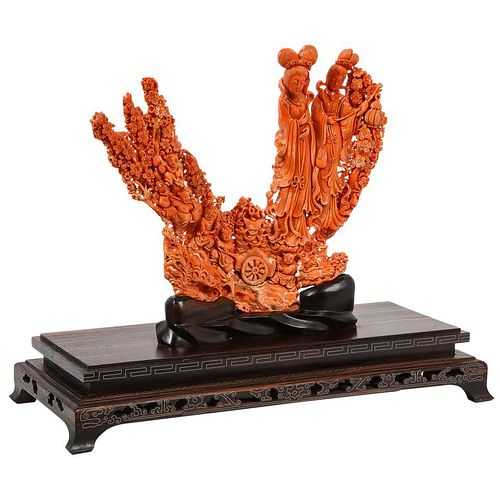 Exceptional Chinese Carved Coral Figural Group of Female Immortals, Qing Dynasty
