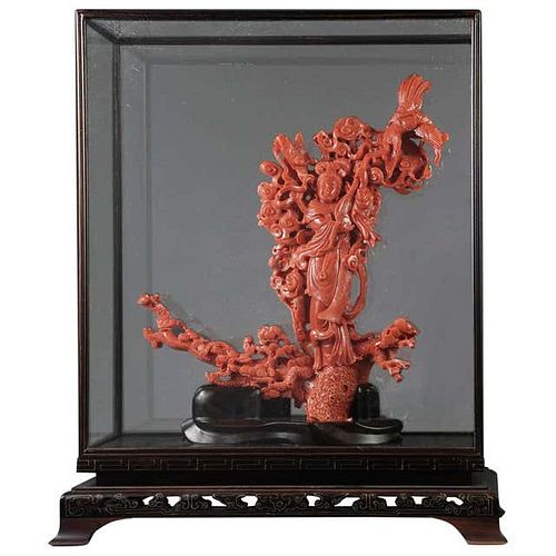 Exceptional Chinese Carved Coral Figural Group of a Guanyin Kwan Yin Phoenix