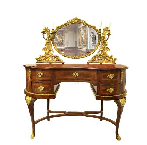 19th C. F. Linke Style French Figural Vanity Table