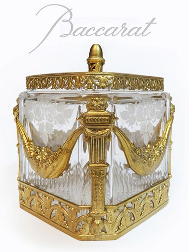 19th C. French Baccarat Crystal Dore Bronze Casket Box