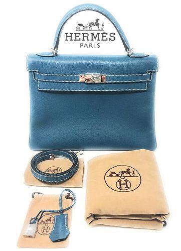 Hermes Kelly 32cm Blue Buffalo Bag