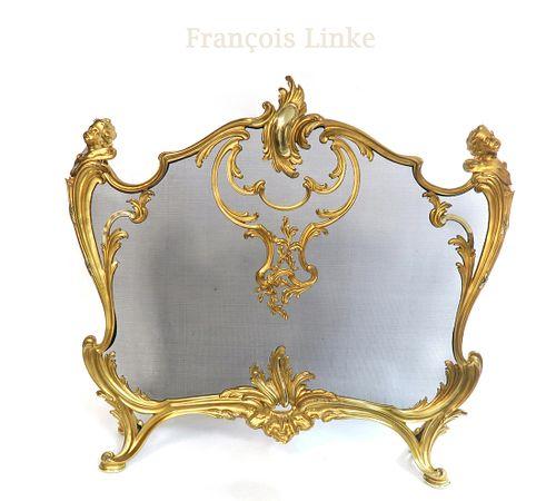 F. Linke Louis XV Figural Bronze Fire Screen. Signed