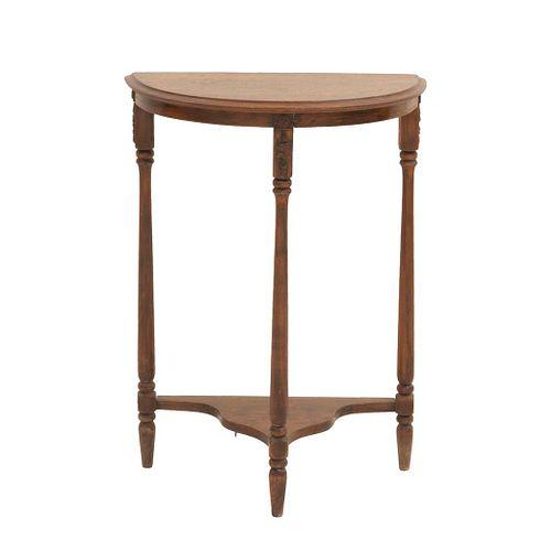 Mesa consola. Siglo XX. Elaborada en madera. Con cubierta semicircular, fustes lisos y soportes tipo carrete. Decorada con molduras.