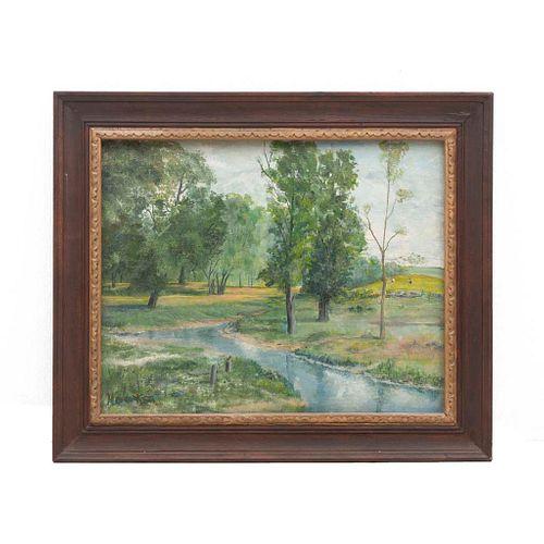 "BOB HAWKS (Siglo XX). Paisaje con lago. Firmado. Ã""leo sobre tela. Enmarcado. 39 x 49 cm"