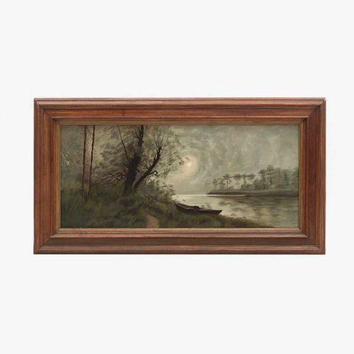 """ANÃ""""NIMO. Paisaje con lago. Ã""""leo sobre tela. Enmarcado. 33 x 76 cm"""