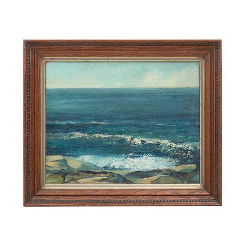 "RUTH JEWELL (Siglo XX) Marina. Ã""leo sobre tela. Enmarcado. 39 x 50 cm"