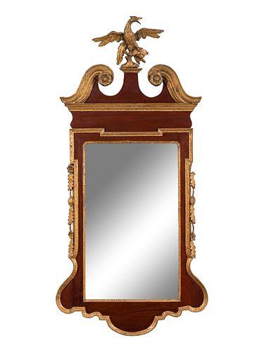 A George II Parcel Gilt Mahogany Mirror by Thomas Aldersey