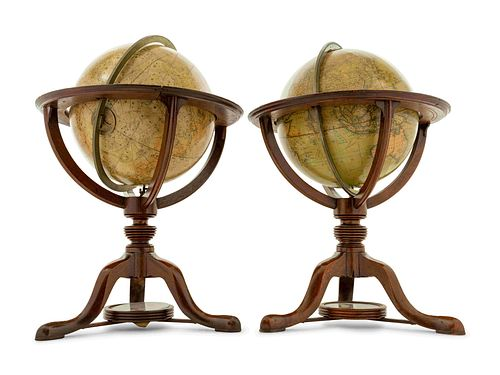 An Associated Pair of English Twelve-Inch Mahogany Celestial and Terrestrial Library Globes