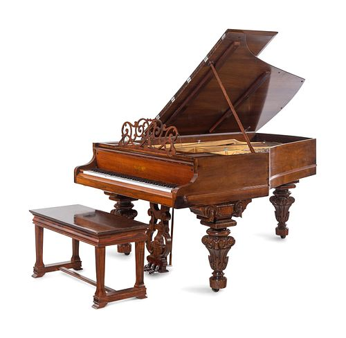 A Chickering & Sons Victorian Rosewood Parlor Grand Piano