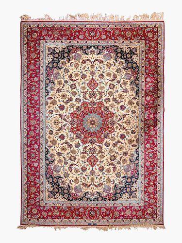 A Sarafian Isfahan Silk and Wool Blend Rug