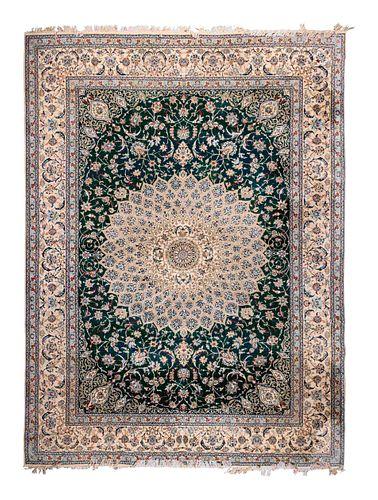 A Habibian Nain Silk and Wool Blend Rug